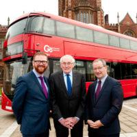 NI Economy Minister Simon Hamilton MLA, Dr William Wright CBE and Vice-Chancellor Professor Patrick Johnston of Queens University Belfast.
